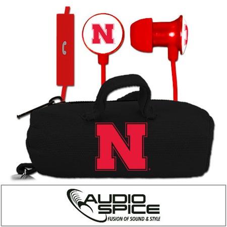 Nebraska Cornhuskers Scorch Earbuds + Mic with BudBag