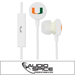 U Miami Hurricanes Ignition Earbuds + Mic