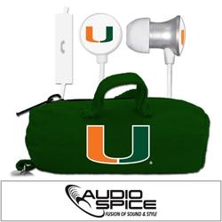 U Miami Hurricanes Scorch Earbuds  + Mic with BudBag