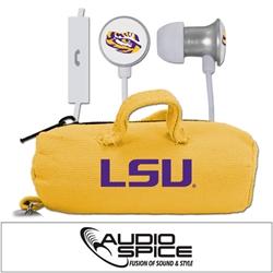 LSU Tigers Scorch Earbuds + Mic with BudBag