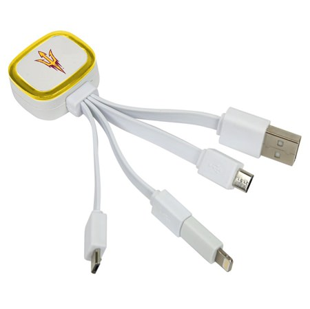 Arizona State Sun Devils Tri-Charge USB Cable w/ Lightning Adapter