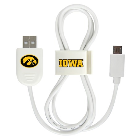 Iowa Hawkeyes Micro USB Cable with QuikClip