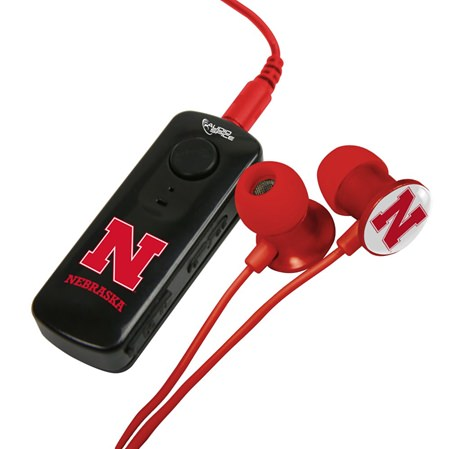 Nebraska Cornhuskers HR-100 Bluetooth® Receiver with BudBag & Earbuds