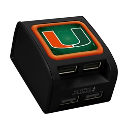 U Miami Hurricanes WP-400X 4-Port USB Wall Charger