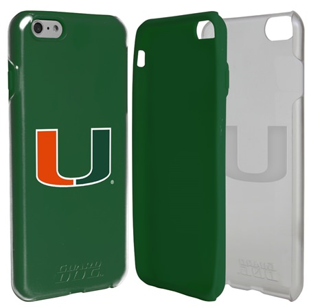 Guard Dog U Miami Hurricanes Clear Hybrid Phone Case for iPhone 6 Plus / 6s Plus with Guard Glass Screen Protector