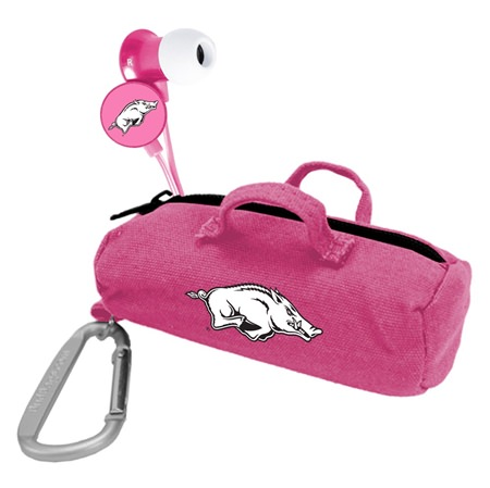 Arkansas Razorbacks Pink Scorch Earbuds with BudBag
