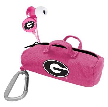 Georgia Bulldogs Pink Scorch Earbuds with BudBag