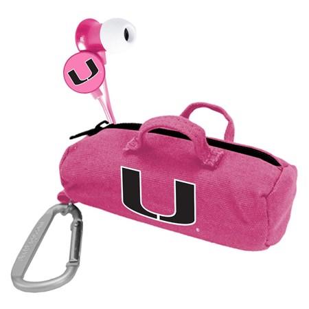 U Miami Hurricanes Pink Scorch Earbuds with BudBag