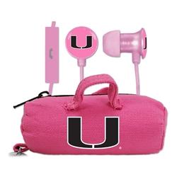 U Miami Hurricanes Pink Scorch Earbuds + Mic with BudBag