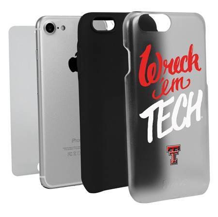 Guard Dog Texas Tech Red Raiders Wreck 'em Tech Clear Hybrid Phone Case for iPhone 7/8 with Guard Glass Screen Protector