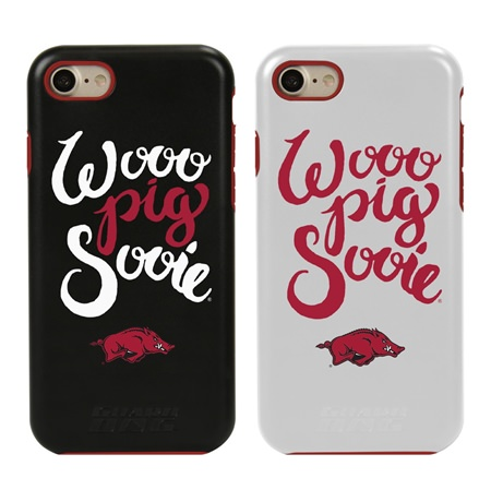 Arkansas Razorbacks Wooo Pig Sooie Hybrid Case for iPhone 7/8 with Guard Glass Screen Protector