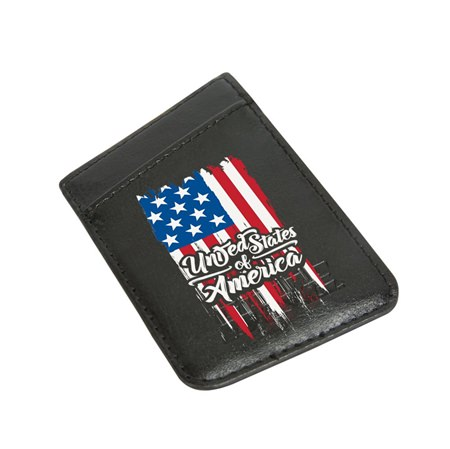 American Flag Collection Card Keeper Leather Phone Wallet with RFID Protection