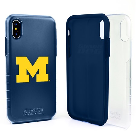 Guard Dog Michigan Wolverines Clear Hybrid Phone Case for iPhone X / Xs with Guard Glass Screen Protector