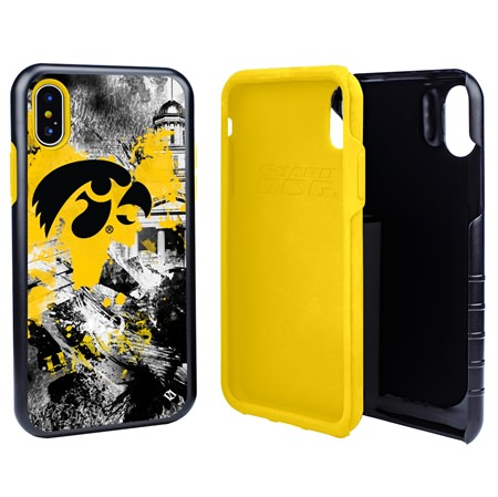 Guard Dog Iowa Hawkeyes PD Spirit Hybrid Phone Case for iPhone X / Xs with Guard Glass Screen Protector
