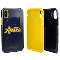 Guard Dog Alaska Torn State Flag Hybrid Phone Case for iPhone X / Xs