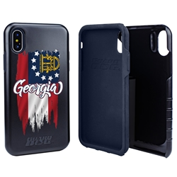 Guard Dog Georgia Torn State Flag Hybrid Phone Case for iPhone X / Xs