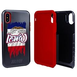 Guard Dog Iowa Torn State Flag Hybrid Phone Case for iPhone X / Xs