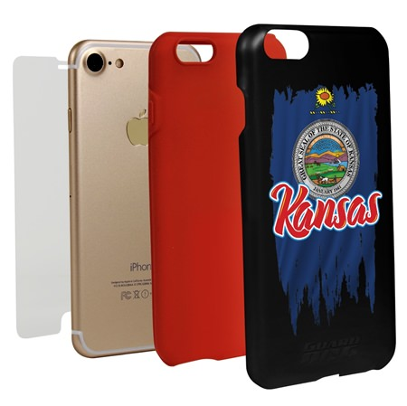 Guard Dog Kansas Torn State Flag Hybrid Phone Case for iPhone 7 / 8