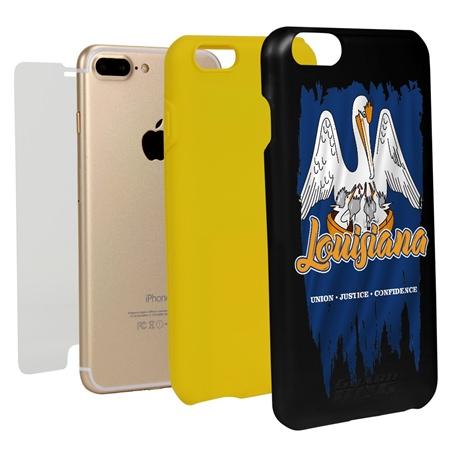 Guard Dog Louisiana Torn State Flag Hybrid Phone Case for iPhone 7 Plus / 8 Plus