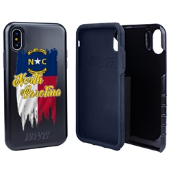 Guard Dog North Carolina Torn State Flag Hybrid Phone Case for iPhone X / Xs