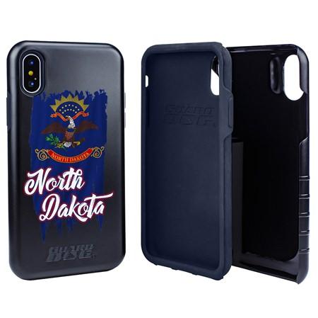 Guard Dog North Dakota Torn State Flag Hybrid Phone Case for iPhone X / Xs