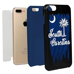 Guard Dog South Carolina Torn State Flag Hybrid Phone Case for iPhone 7 Plus / 8 Plus