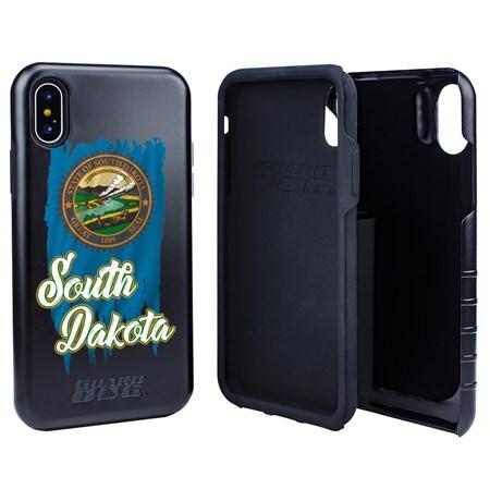 Guard Dog South Dakota Torn State Flag Hybrid Phone Case for iPhone X / Xs