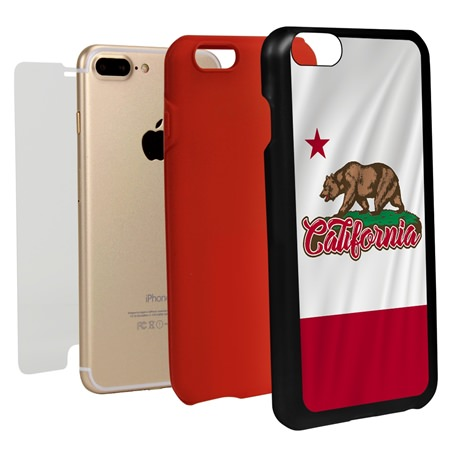 Guard Dog California State Flag Hybrid Phone Case for iPhone 7 Plus / 8 Plus