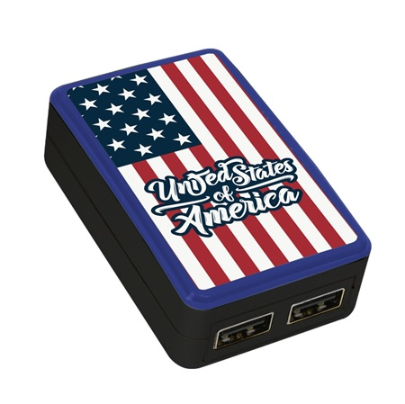 American Flag Collection WP-200X Dual-Port USB Wall Charger