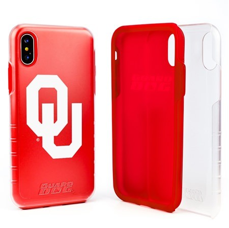 Guard Dog Oklahoma Sooners Clear Hybrid Phone Case for iPhone XS Max with Guard Glass Screen Protector