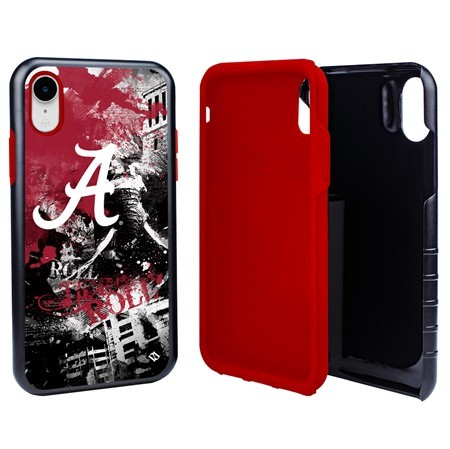Alabama Crimson Tide PD Spirit Hybrid Case for iPhone XR with Guard Glass Screen Protector
