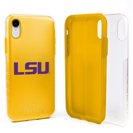 Guard Dog LSU Tigers Clear Hybrid Phone Case for iPhone XR with Guard Glass Screen Protector