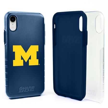 Guard Dog Michigan Wolverines Clear Hybrid Phone Case for iPhone XR with Guard Glass Screen Protector
