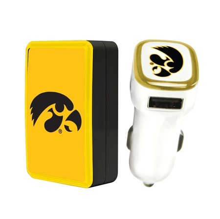 Iowa Hawkeyes Wall Charger / Car Charger Pack