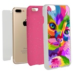Guard Dog Kaleidoscope Cat Hybrid Phone Case for iPhone 7 Plus / 8 Plus with Guard Glass Screen Protector