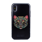 Guard Dog India Ink Cat Hybrid Phone Case for iPhone X / XS with Guard Glass Screen Protector