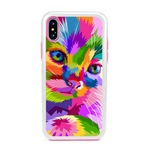 Guard Dog Kaleidoscope Cat Hybrid Phone Case for iPhone X / XS with Guard Glass Screen Protector