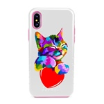 Guard Dog Love Kitty Hybrid Phone Case for iPhone X / XS with Guard Glass Screen Protector
