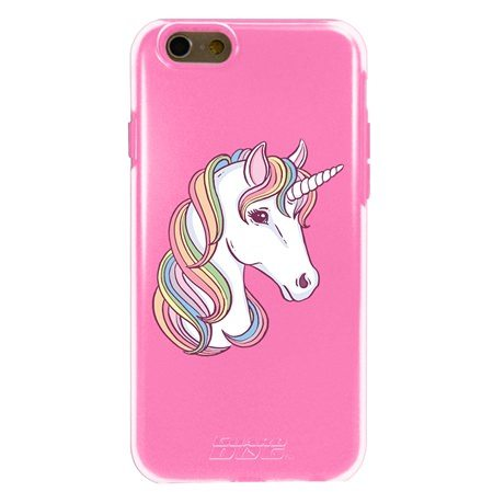 Guard Dog Unicorn Hybrid Phone Case for iPhone 6 / 6s , Clear with Pink Silicone