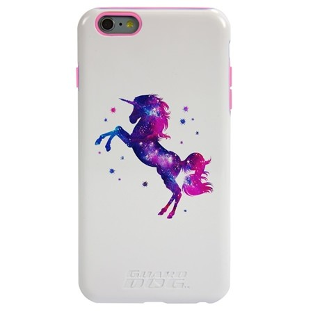Guard Dog Unicorn Stallion Hybrid Phone Case for iPhone 6 Plus / 6s Plus , White with Pink Silicone