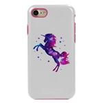 Guard Dog Unicorn Stallion Hybrid Phone Case for iPhone 7/8/SE , White with Pink Silicone