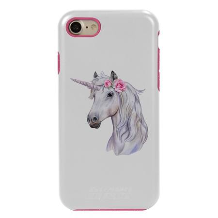 Guard Dog Unicorn Maiden Hybrid Phone Case for iPhone 7 / 8 with Guard Glass Screen Protector, White with Pink Silicone