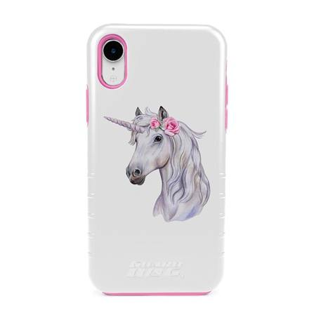Guard Dog Unicorn Maiden Hybrid Phone Case for iPhone XR with Guard Glass Screen Protector, White with Pink Silicone