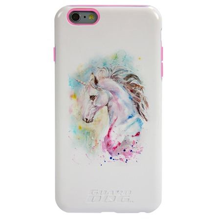 Guard Dog Watercolor Unicorn Hybrid Phone Case for iPhone 6 Plus / 6s Plus , White with Pink Silicone