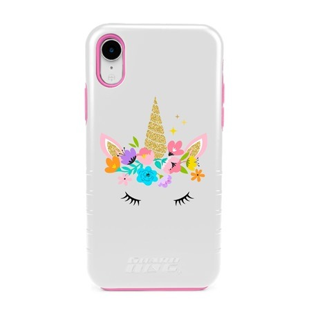 Guard Dog Flower Girl Unicorn Hybrid Phone Case for iPhone XR , White with Pink Silicone