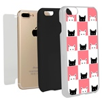 Guard Dog Checkerboard Kitties Hybrid Phone Case for iPhone 7 Plus / 8 Plus with Guard Glass Screen Protector