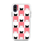 Guard Dog Checkerboard Kitties Hybrid Phone Case for iPhone X / XS with Guard Glass Screen Protector