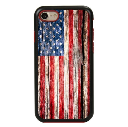 Guard Dog Land of Liberty Rugged American Flag Hybrid Phone Case for iPhone 7/8/SE , Black