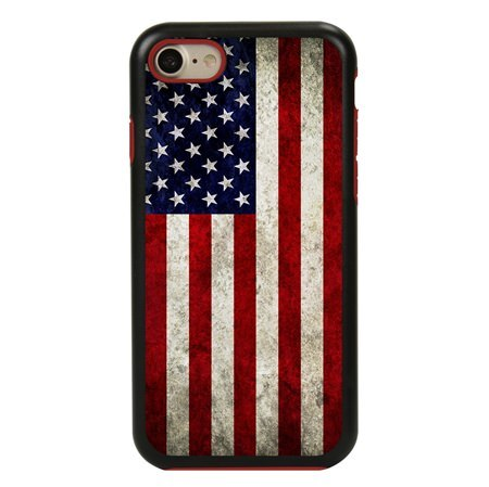 Guard Dog Old Glory Rugged American Flag Hybrid Phone Case for iPhone 7 / 8 with Guard Glass Screen Protector, Black