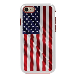 Guard Dog Star Spangled Banner Rugged American Flag Hybrid Phone Case for iPhone 7/8/SE , White